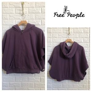 Free People plum purple crop hoodie sweatshirt